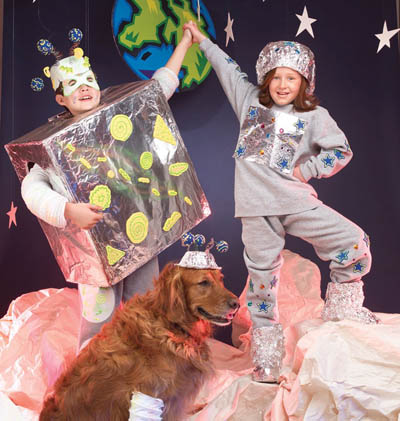 space kids and dog